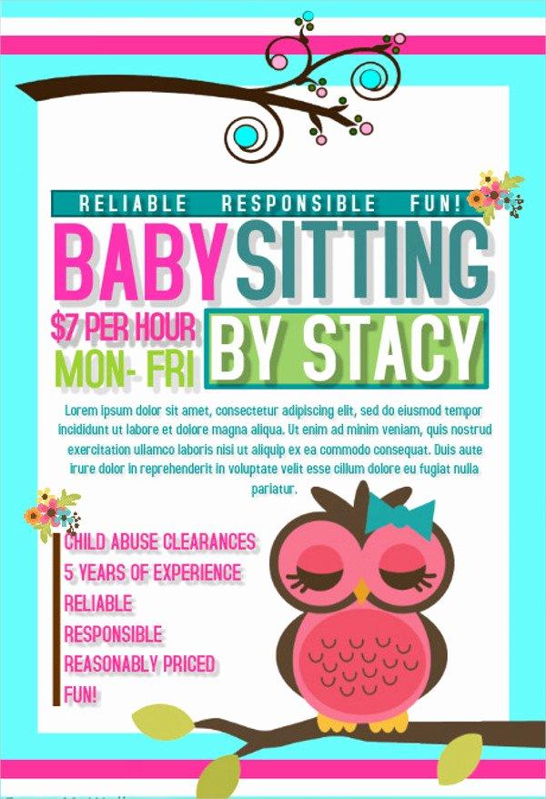Babysitting Flyer Template Free Luxury 20 Beautiful Babysitting Flyer Templates & Creatives