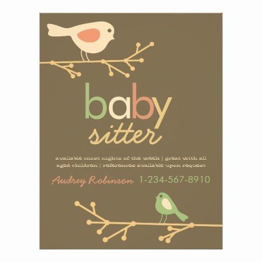 Babysitting Flyer Template Free Luxury Mod Birds Babysitter Advertisement Personalized Flyer