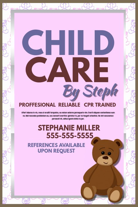 Babysitting Flyer Template Free New Child Care Template