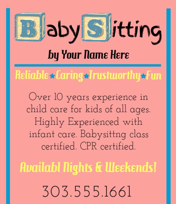 Babysitting Flyer Template Free Unique 20 Beautiful Babysitting Flyer Templates & Creatives