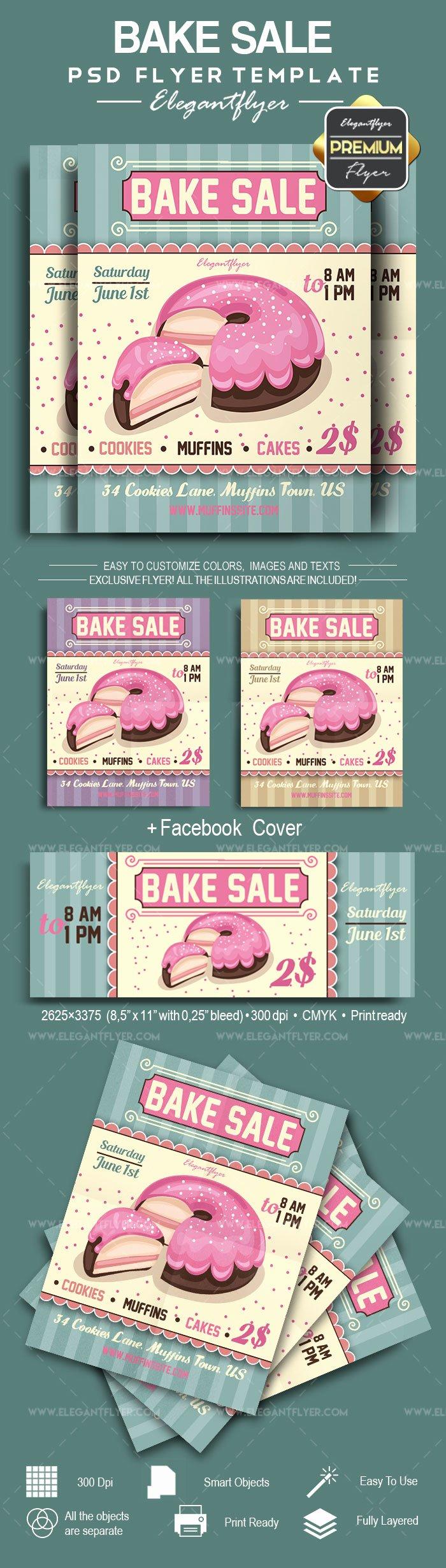 Bake Sale Flyer Template Awesome Cupcake Bake Sale Psd Flyer – by Elegantflyer