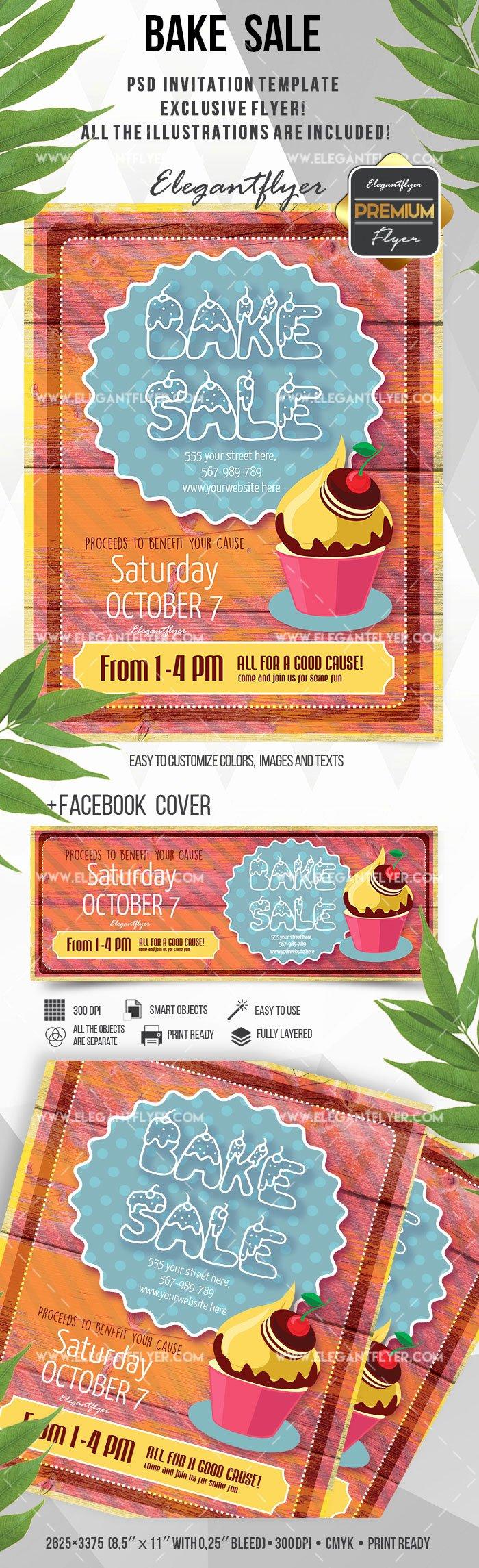 bake sale flyer invitation template 2