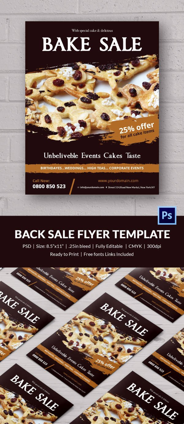 Bake Sale Flyer Template New Bake Sale Flyer Template 24 Free Psd Indesign Ai