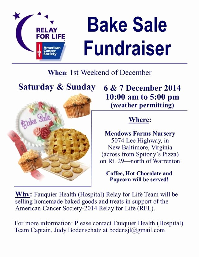 "Bake Sale Fundraiser Flyer Template Awesome Fauquier Health ""hospital"" Relay for Life Bake Sale"
