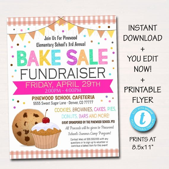 Bake Sale Fundraiser Flyer Template Best Of Editable Bake Sale Flyer Printable Pta Pto Flyer School