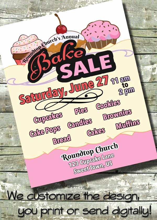 Bake Sale Fundraiser Flyer Template Fresh Bake Sale Flyer event Poster Fundraiser Flyer Digital
