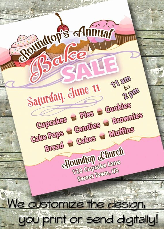Bake Sale Fundraiser Flyer Template Lovely Bake Sale Charity Fundraiser 5x7 Invite 8 5x11 Flyer