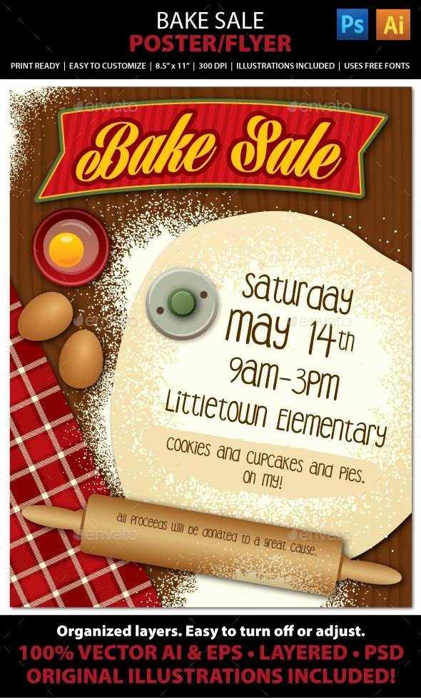 Bake Sale Fundraiser Flyer Template Luxury Bake Sale or Bakery Poster or Flyer Great Background