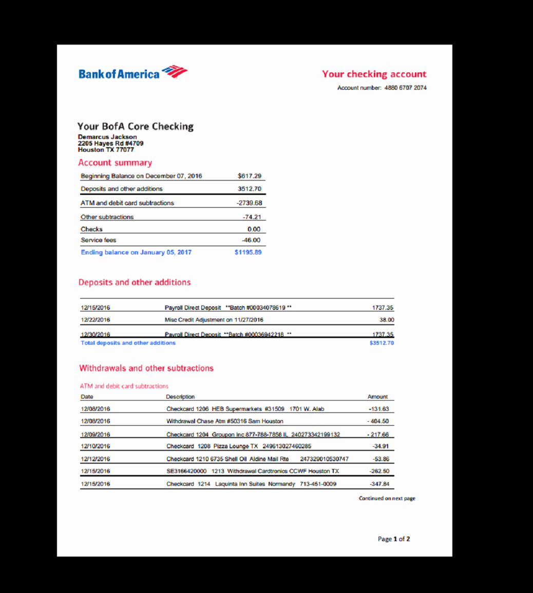 Bank Of America Statement Template Best Of Bank Statement Bank America In 2019