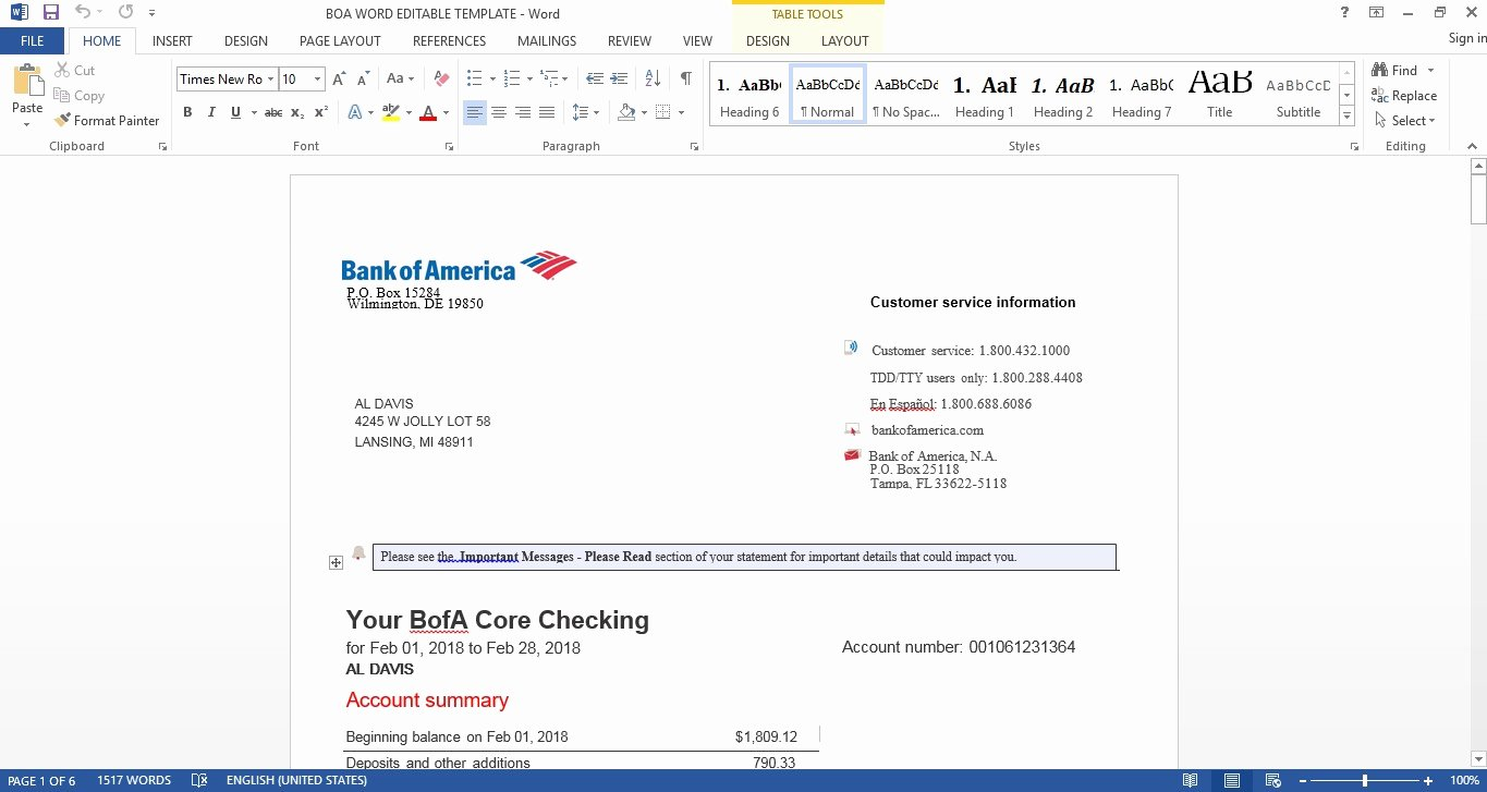Bank Of America Statement Template Inspirational Bank Of America Boa Bank Statement Editable Word Template