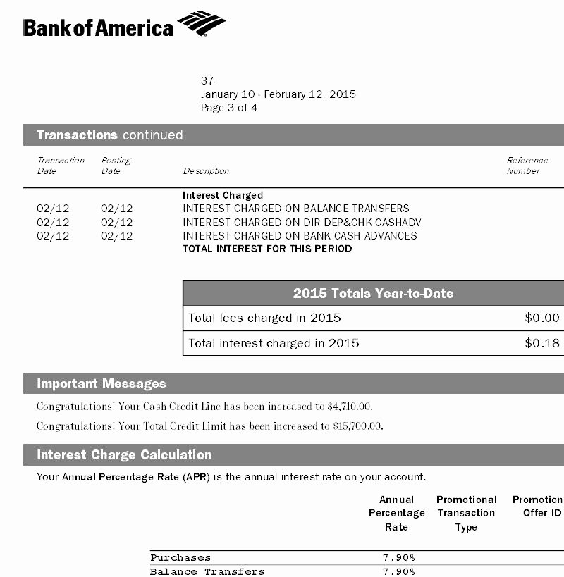 Bank Of America Statement Template Lovely Bank Of America Automatic Credit Line Increase Page 4