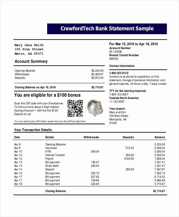 Bank Of America Statement Template New Bank Statement Template
