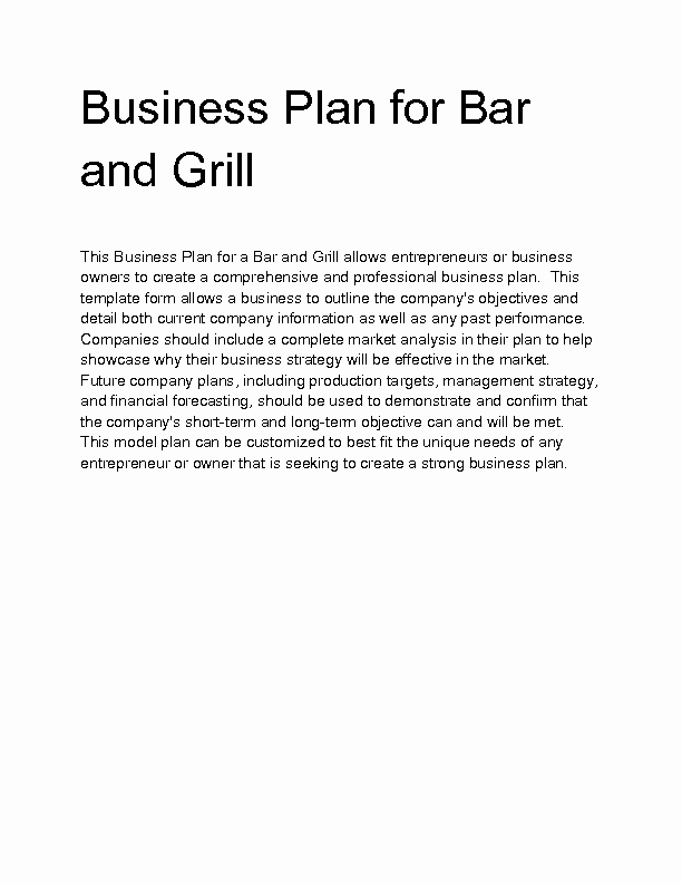 Bar Business Plan Template Best Of Wel E to Docs 4 Sale