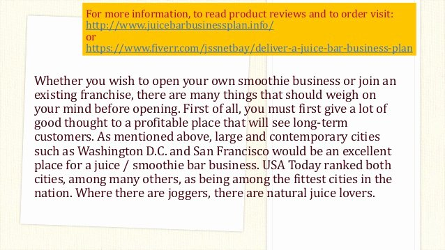 Bar Business Plan Template Luxury Juice Bar Business Plan Template