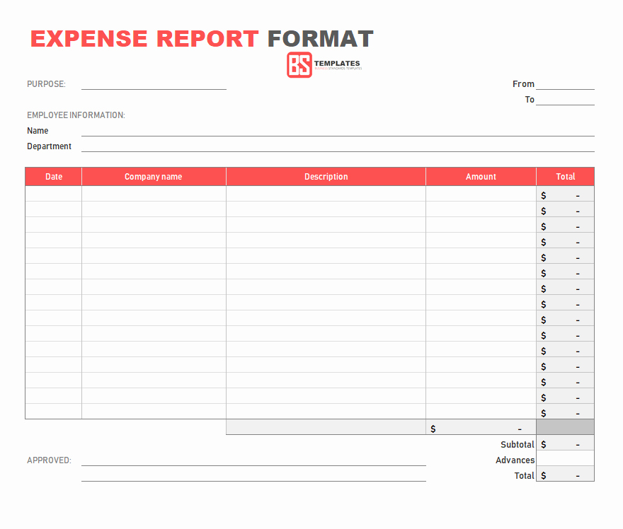 Basic Expense Report Template Awesome 10 Expense Report Template Monthly Weekly Printable