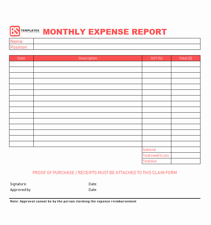 Basic Expense Report Template Elegant 10 Expense Report Template Monthly Weekly Printable
