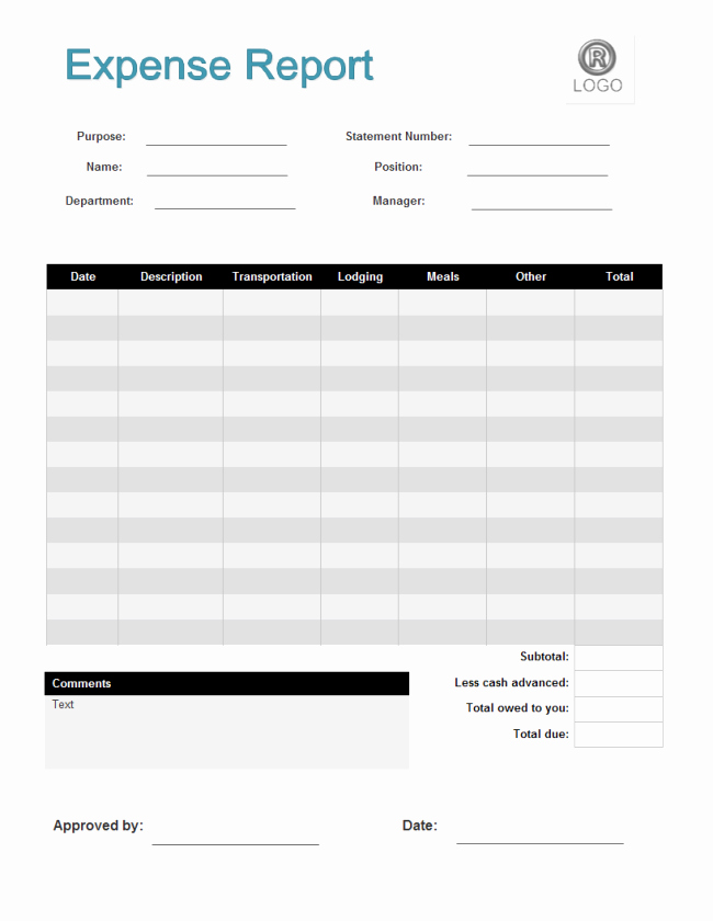 Basic Expense Report Template Fresh Simple Expense Report Template