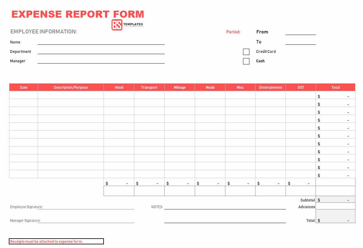 Basic Expense Report Template Lovely 10 Expense Report Template Monthly Weekly Printable