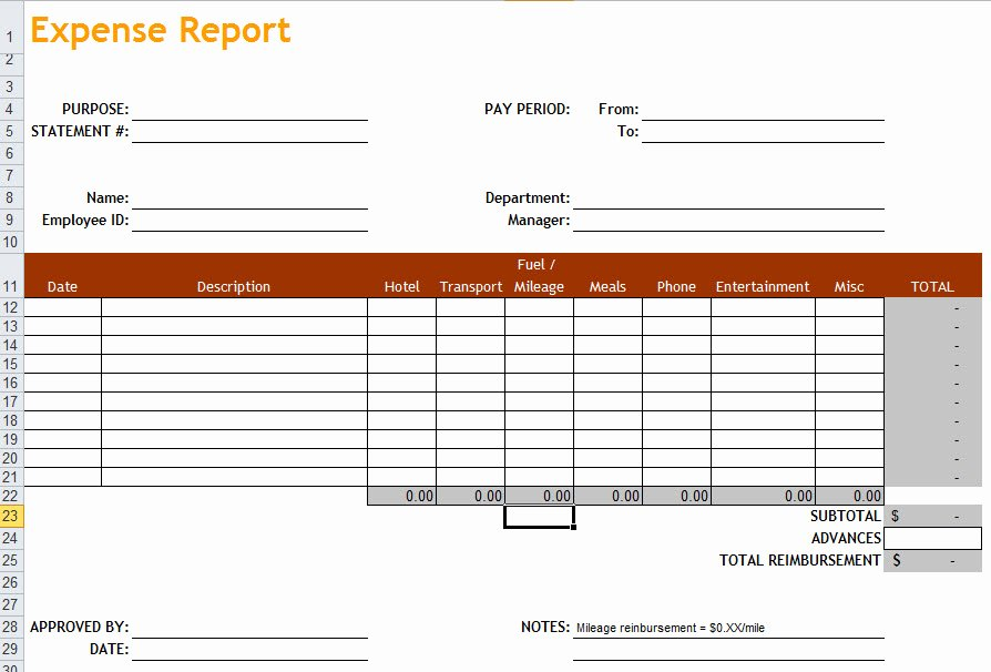 Basic Expense Report Template Unique Expense Report Template In Excel