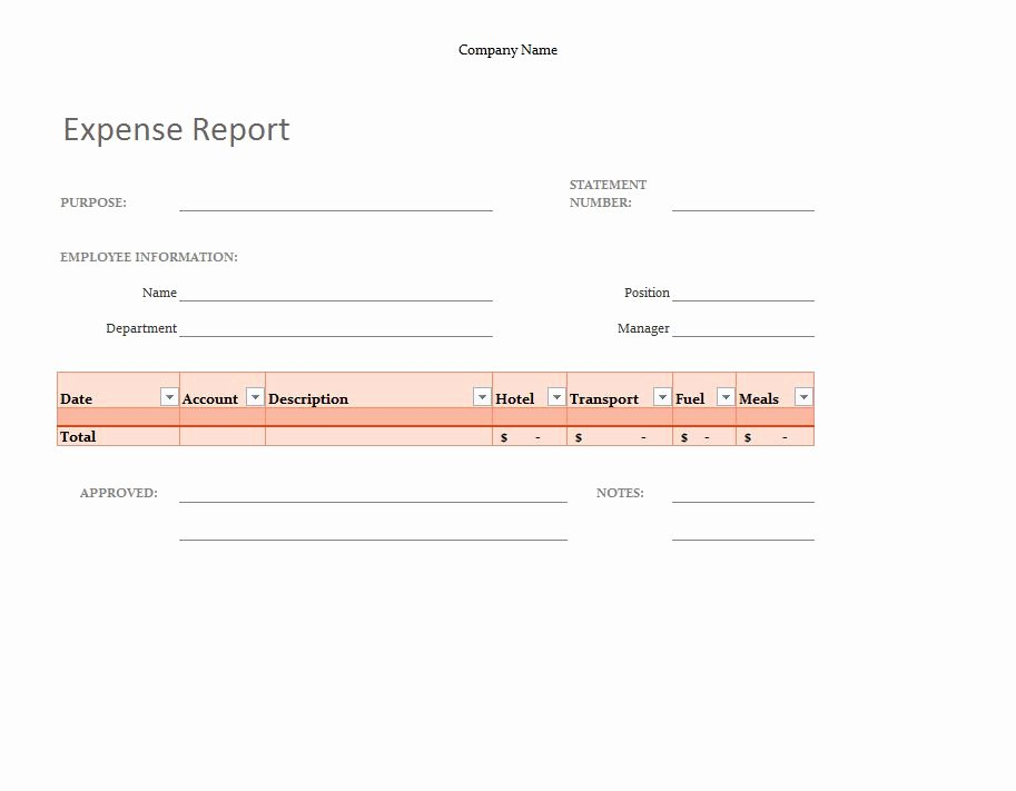 Basic Expense Report Template Unique Expense Tracking Template