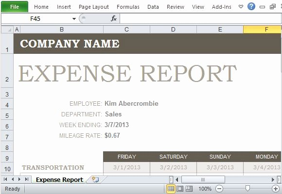 Basic Expense Report Template Unique Free Expense Report Template for Excel