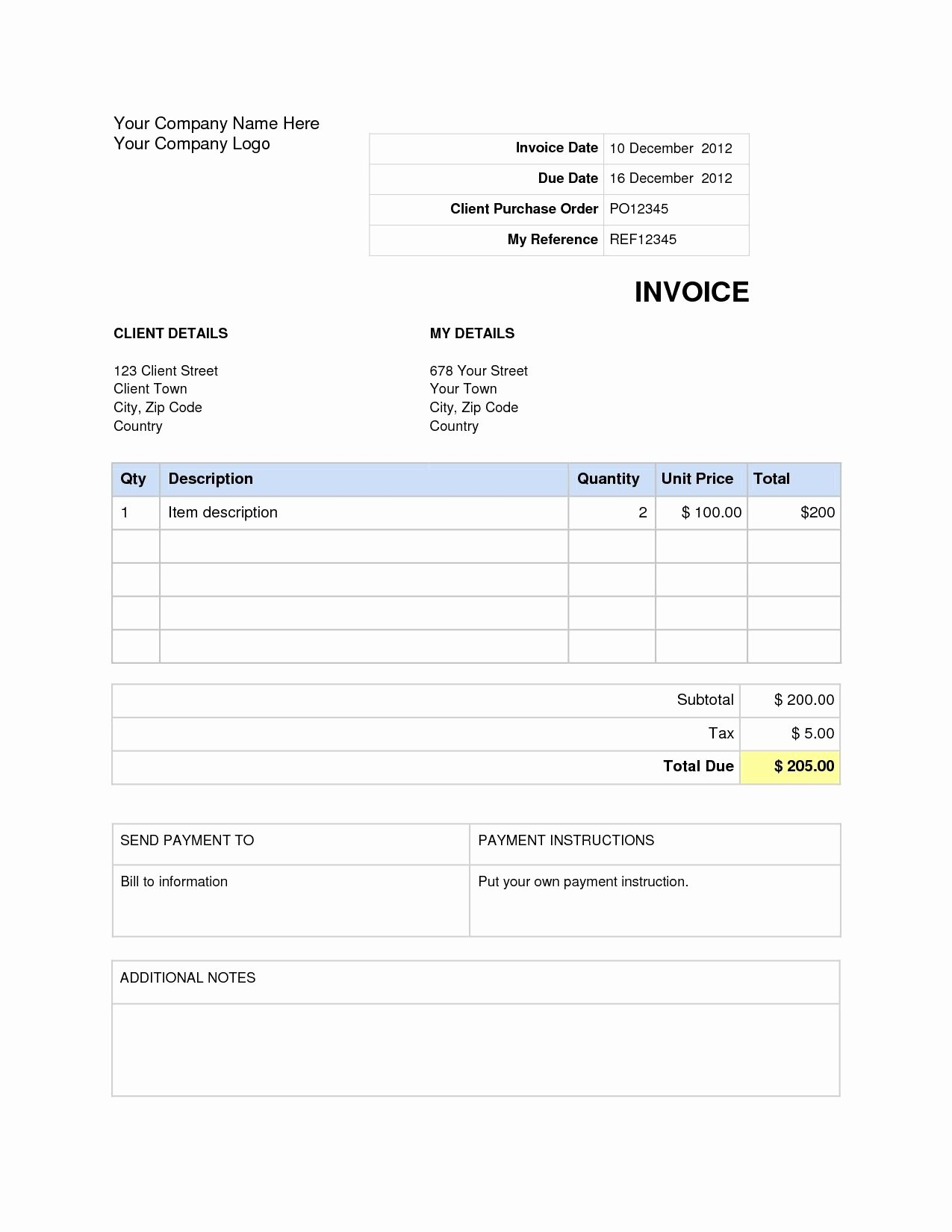 Basic Invoice Template Word Awesome Word Document Invoice Template Blank Invoice Template Word