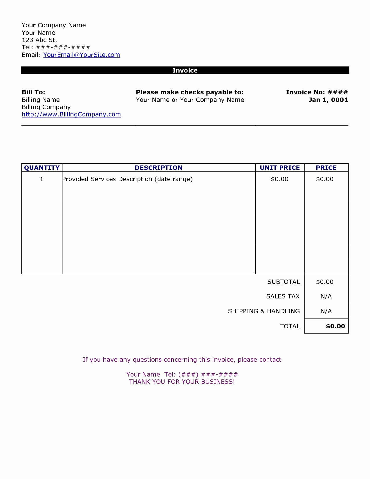 Basic Invoice Template Word Awesome Word Document Invoice Template