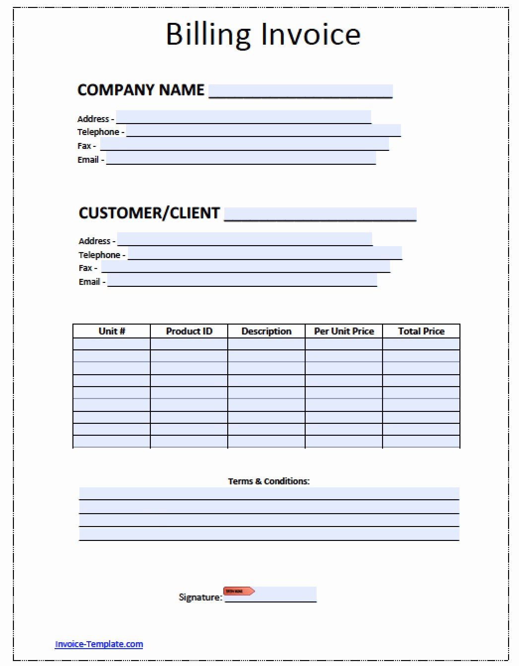 Basic Invoice Template Word Lovely Free Blank Invoice Template for Excel Excel Template