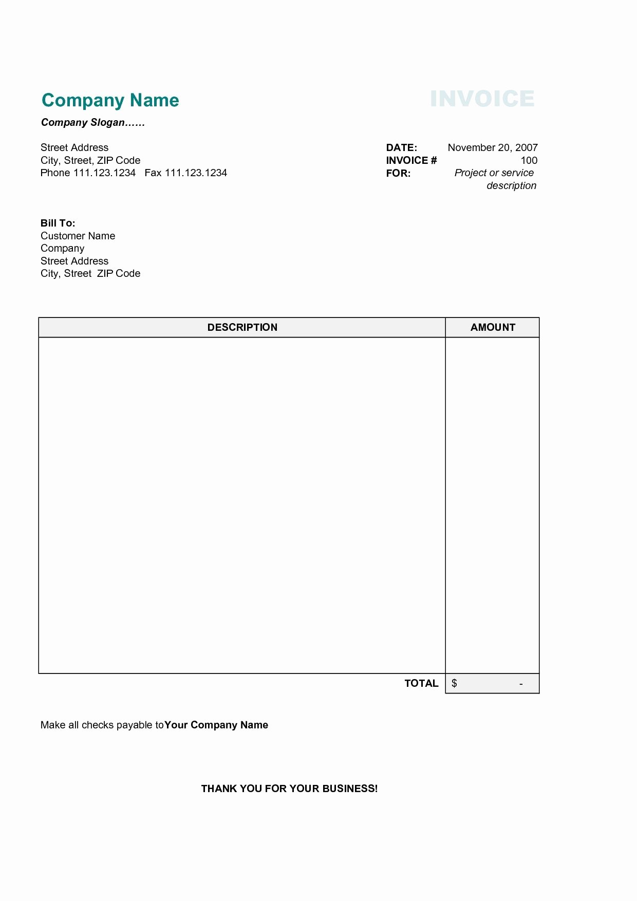 Basic Invoice Template Word Luxury 17 Best Photos Of Printable Mercial Invoice Sample