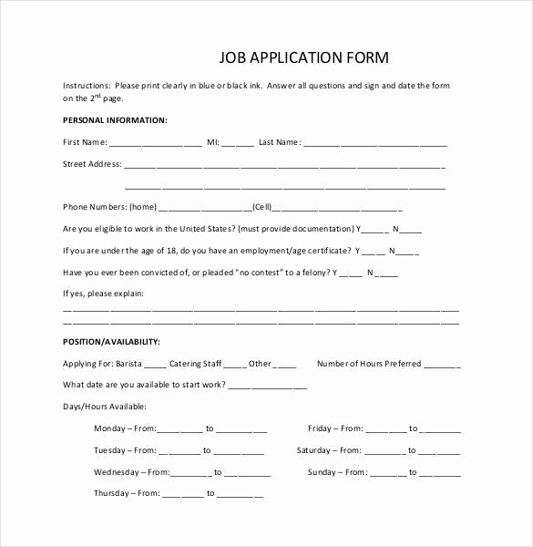 Basic Job Application Templates Awesome Job Application Template 19 Examples In Pdf Word