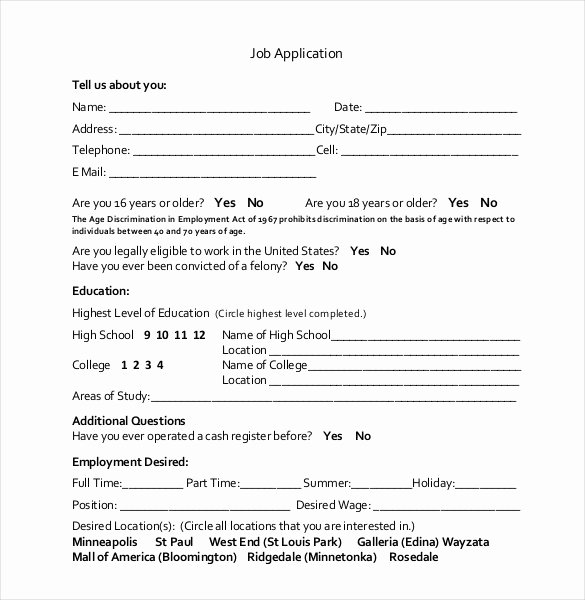 Basic Job Application Templates Beautiful 21 Employment Application Templates Pdf Doc