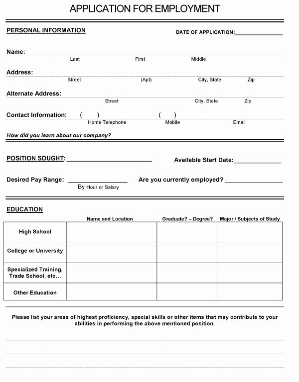 Basic Job Application Templates Inspirational Basic Application Templates West Pike