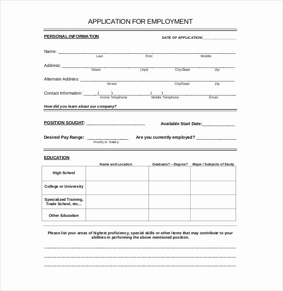 Basic Job Application Templates Lovely 15 Employment Application Templates – Free Sample