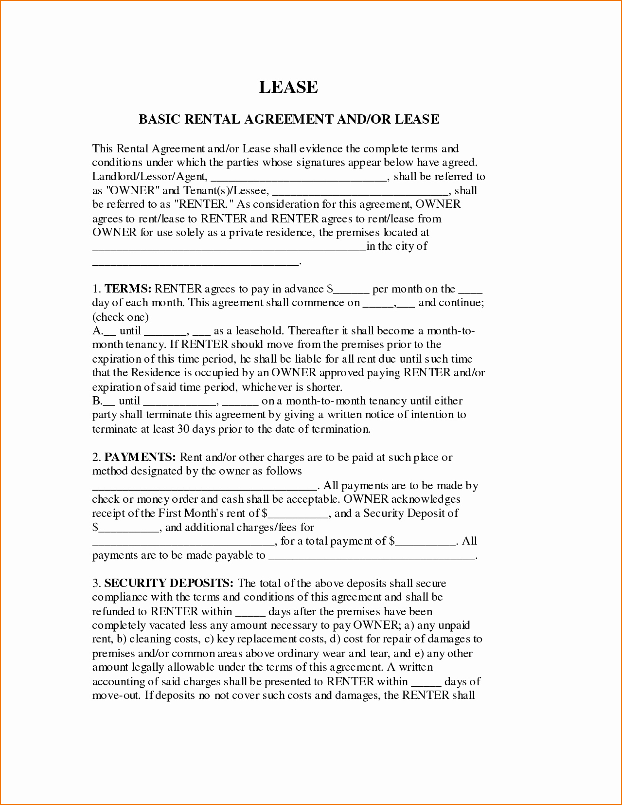 Basic Renters Agreement Template Elegant 6 Basic Lease Agreement