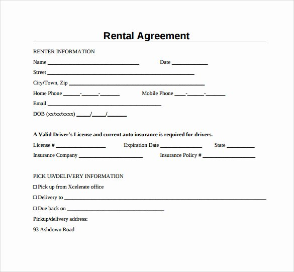 Basic Renters Agreement Template Unique Sample Generic Rental Agreement 6 Free Documents In Pdf