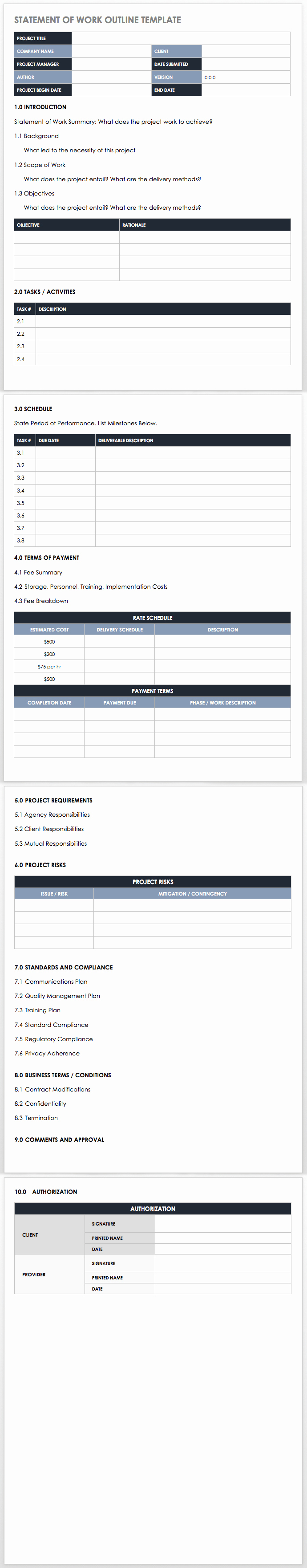 Basic Scope Of Work Template Awesome Free Statement Of Work Templates Smartsheet