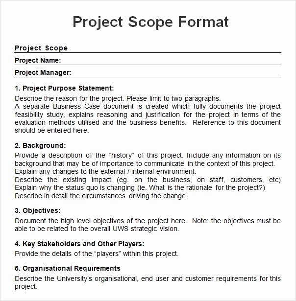 Basic Scope Of Work Template Best Of Free 7 Sample Project Scope Templates In Pdf