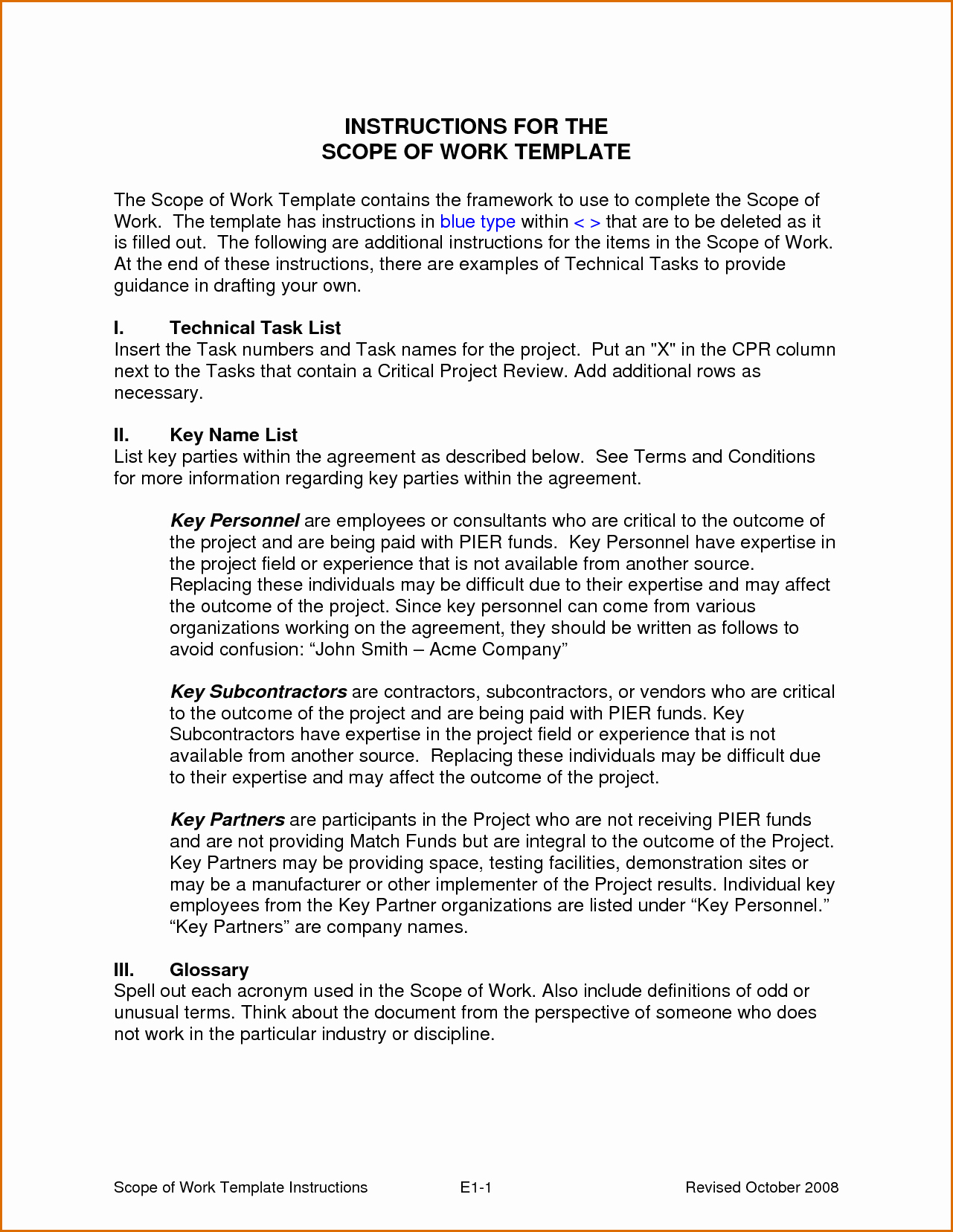 Basic Scope Of Work Template Unique 8 Scope Of Work Sample