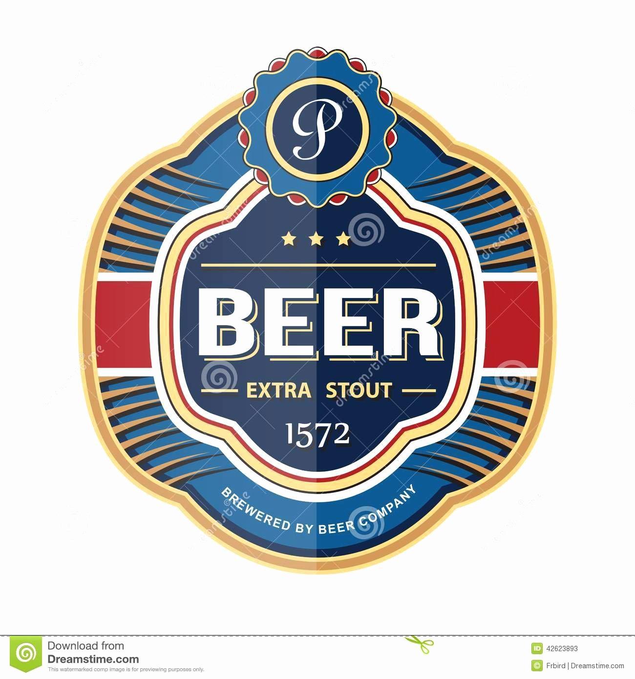 Beer Label Template Word Elegant Green Beer Bottle Label Template Stock Vector Image