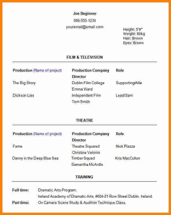 Beginner Acting Resume Template Beautiful 6 Beginner Acting Resume Template