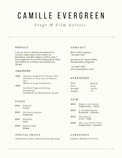 Beginner Acting Resume Template Beautiful Customize 27 Acting Resume Templates Online Canva