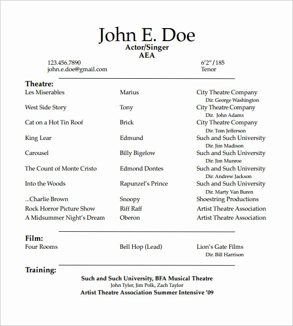 Beginner Acting Resume Template Best Of How to Create A Good Acting Resume Template