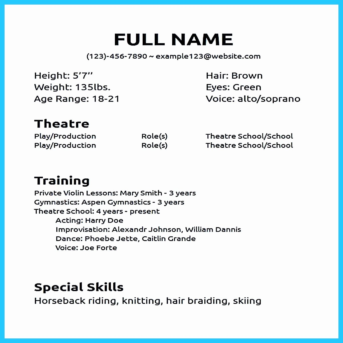 Beginner Acting Resume Template Elegant Actor Resume Sample Presents How You Will Make Your