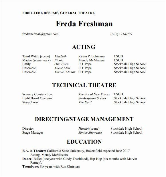 Beginner Acting Resume Template Elegant Free 18 Useful Sample Acting Resume Templates In Pdf