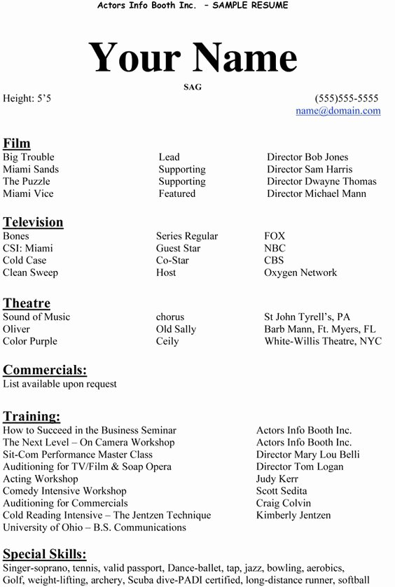 Beginner Acting Resume Template Fresh Actors Resume and Acting On Pinterest