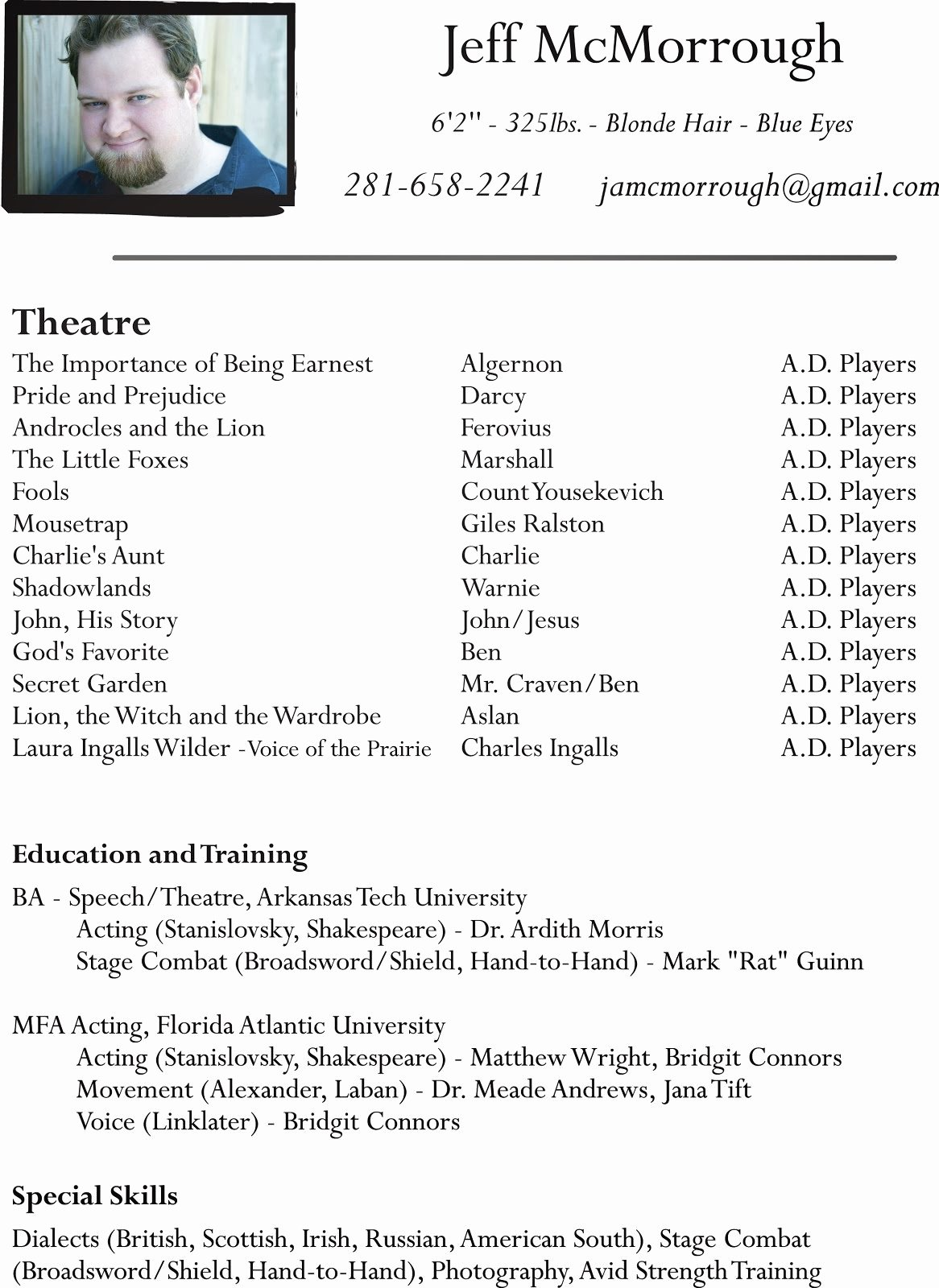 Beginner Acting Resume Template Fresh Talent Star Acting Resume Actor Beginner Kids theatre