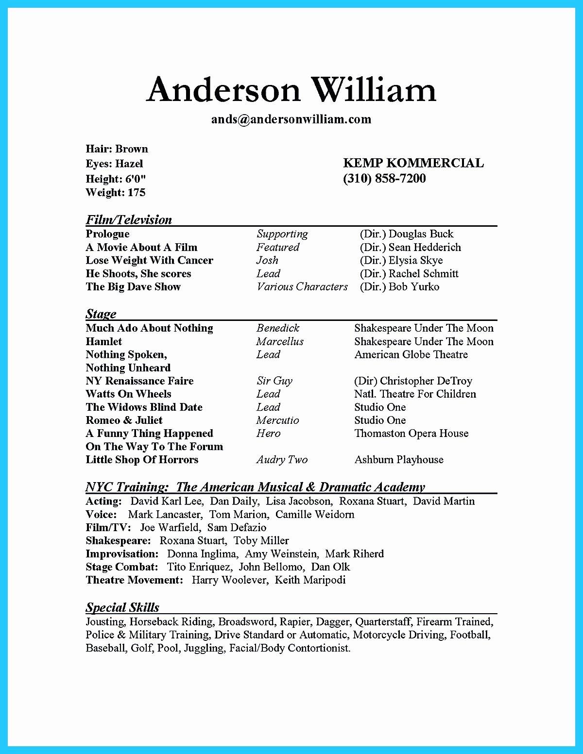 Beginner Acting Resume Template Inspirational Acting Resume Beginner Classy Beginner Acting Resume