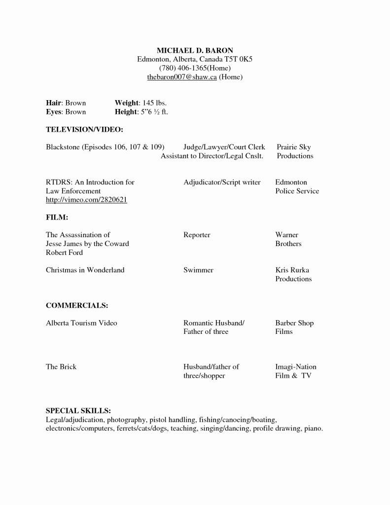 Beginner Acting Resume Template New Beginner Acting Resume Sample