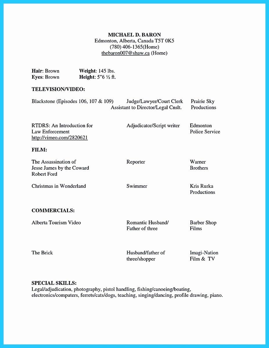 Beginner Acting Resume Template New Brilliant Acting Resume Template to Get Inspired