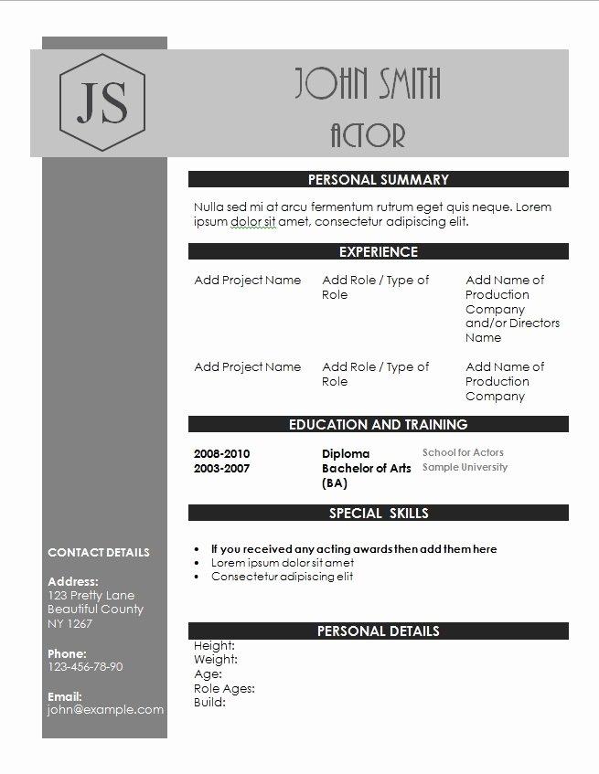 Beginner Acting Resume Template Unique Acting Resume Template